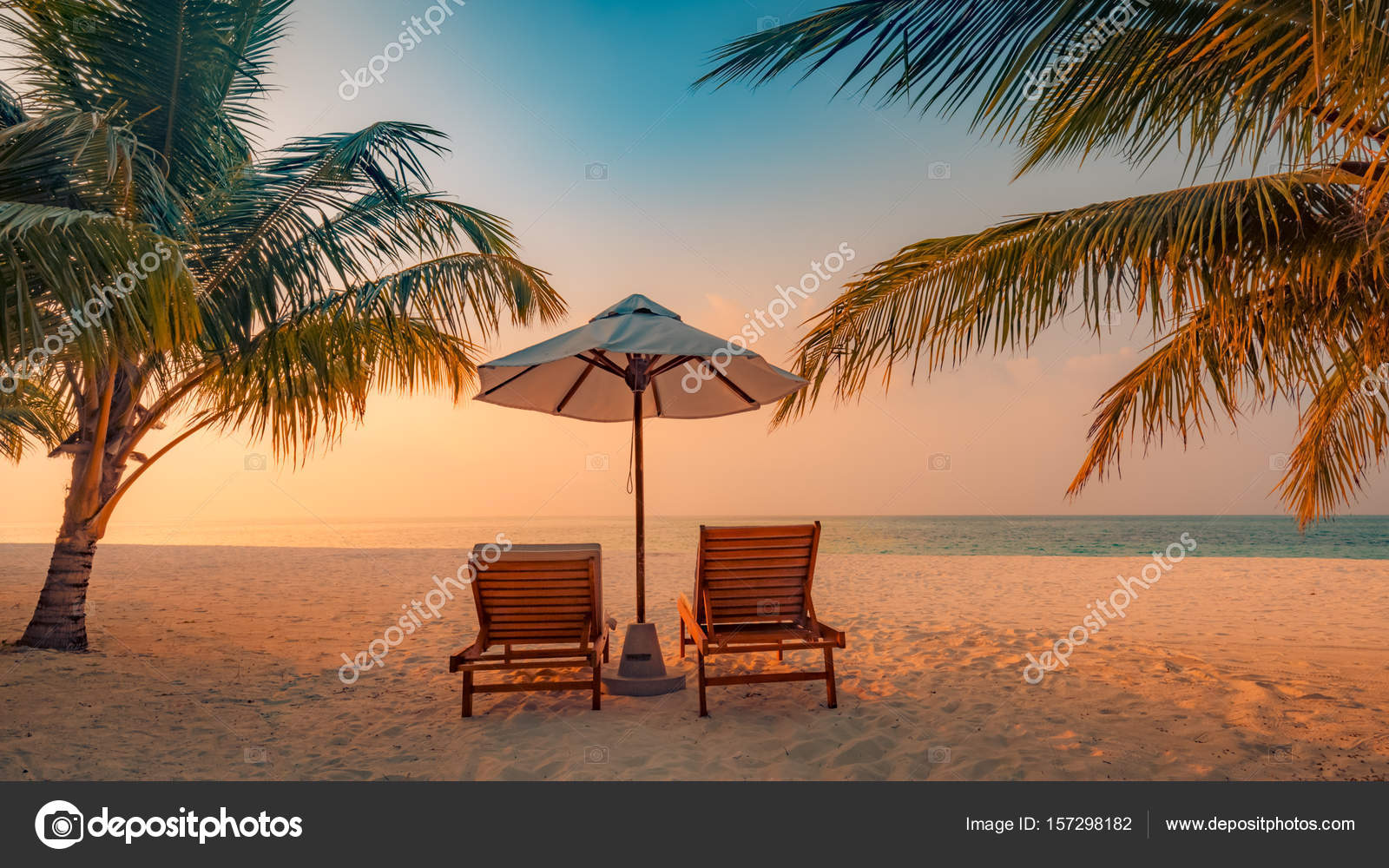 Magnificent Romantic Beach Scene Beach Chairs And Palm Trees Moody Inzonedesignstudio Interior Chair Design Inzonedesignstudiocom