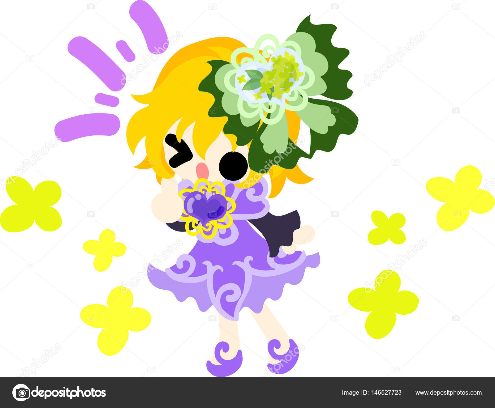 Cute girl and yellow flowers stock vector chiharu t 146527723 a cute girl and a ribbon of yellow flowers vector by chiharu t mightylinksfo