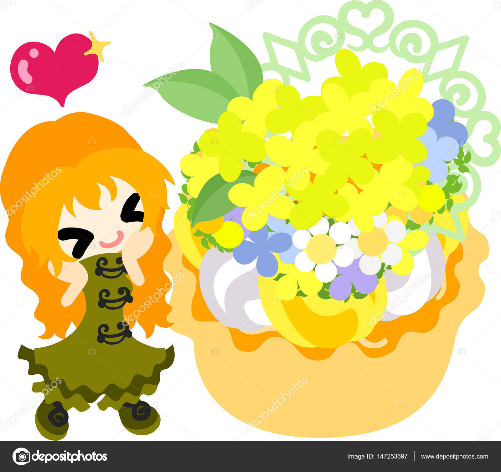 Cute Girl And Yellow Flowers Stock Vector Chiharu T 147253697