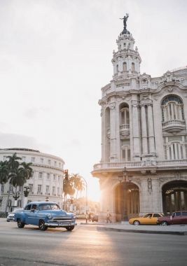 Havana, Cuba - January 5, 2017: old buildings and cars on street in downtown