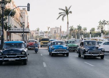 Havana, Cuba - January 6, 2017: retro cars on highway in downtown