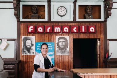 Santa Clara, Cuba - January 9, 2017: woman working in pharmacy store