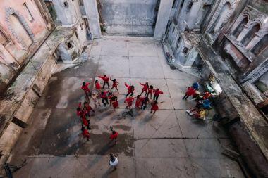 Havana, Cuba - January 24, 2017: practicing folk dancing group