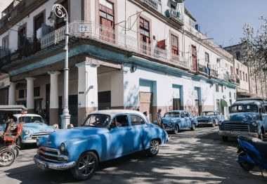 retro cars on street