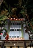 Miami Beach, USA - March 20, 2018: illuminated Richmond Hotel facade at night