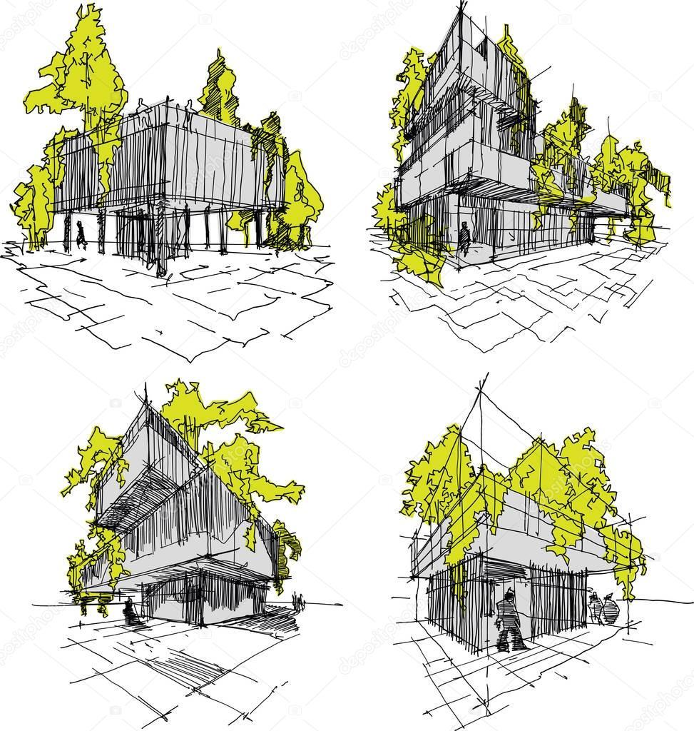 Vier Skizzen Der Abstrakten Moderne Architektur Mit Grun Und Baume Stockvektor