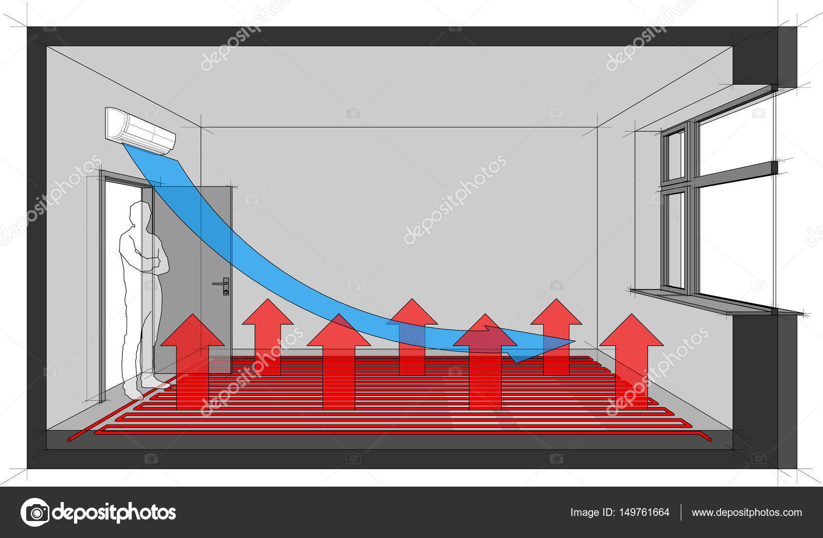 Diagram Of A Room Heated With Floor Heating And With Wall Mounted Air  Conditioner U2014 Vector By Valigursky