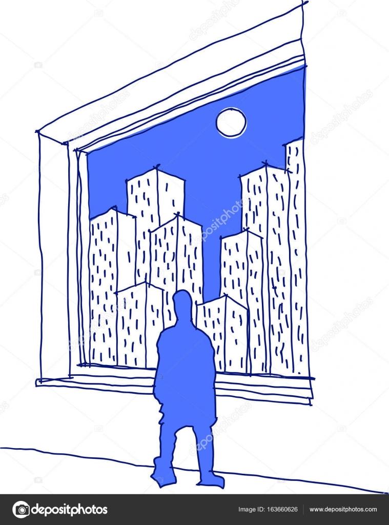 boceto dibujado mano del hombre mirando a través de una ventana en ...