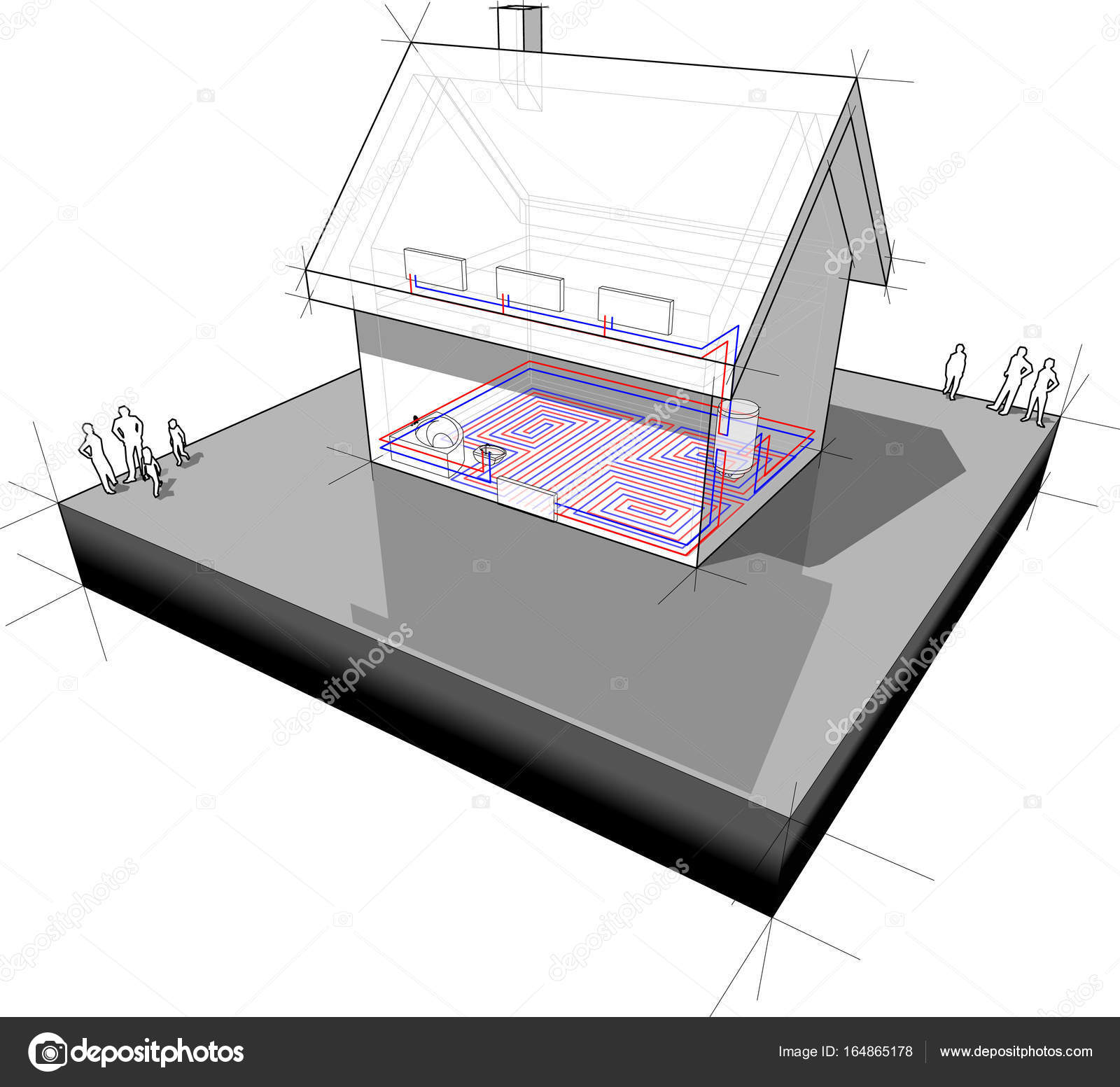 Diagram of a detached house with floor heating and radiators stock diagram of a detached house with floor heating and radiators stock vector ccuart Images