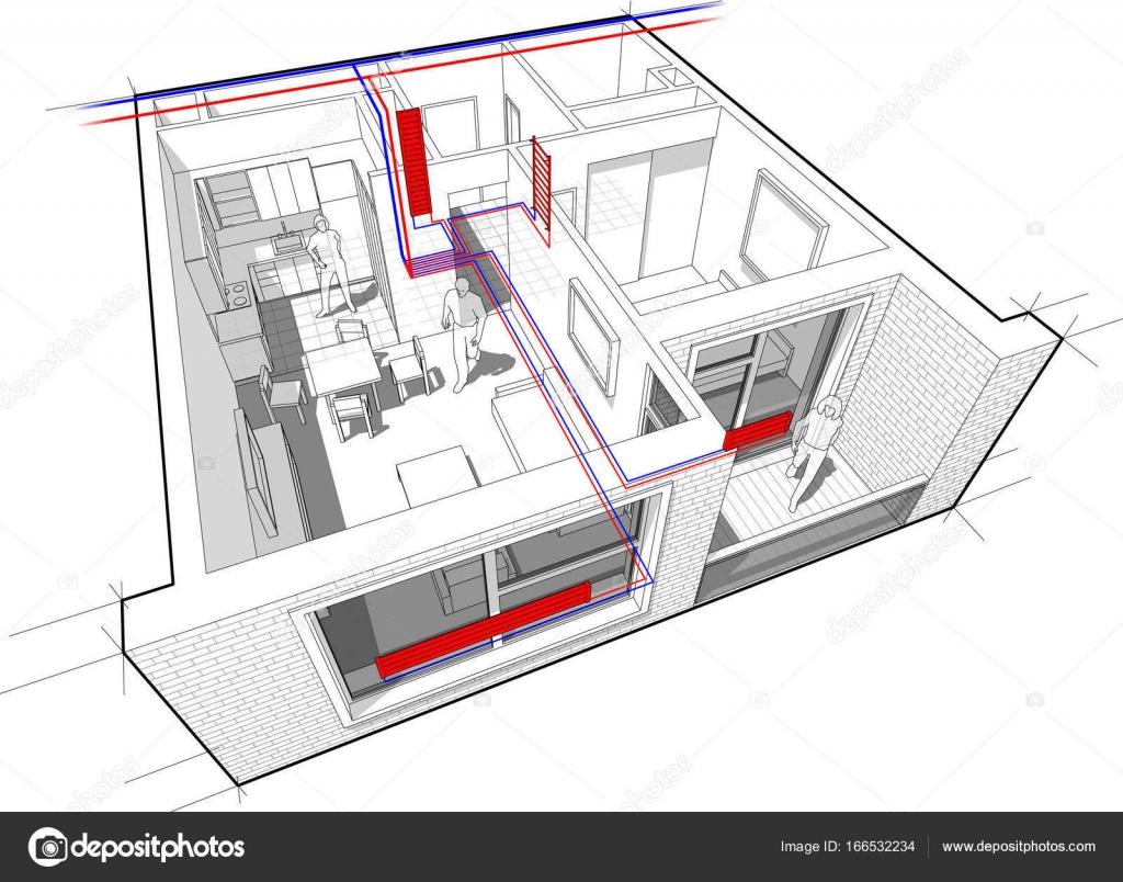 Wohnung-Diagramm mit Heizkörper Heizung — Stockvektor © valigursky ...