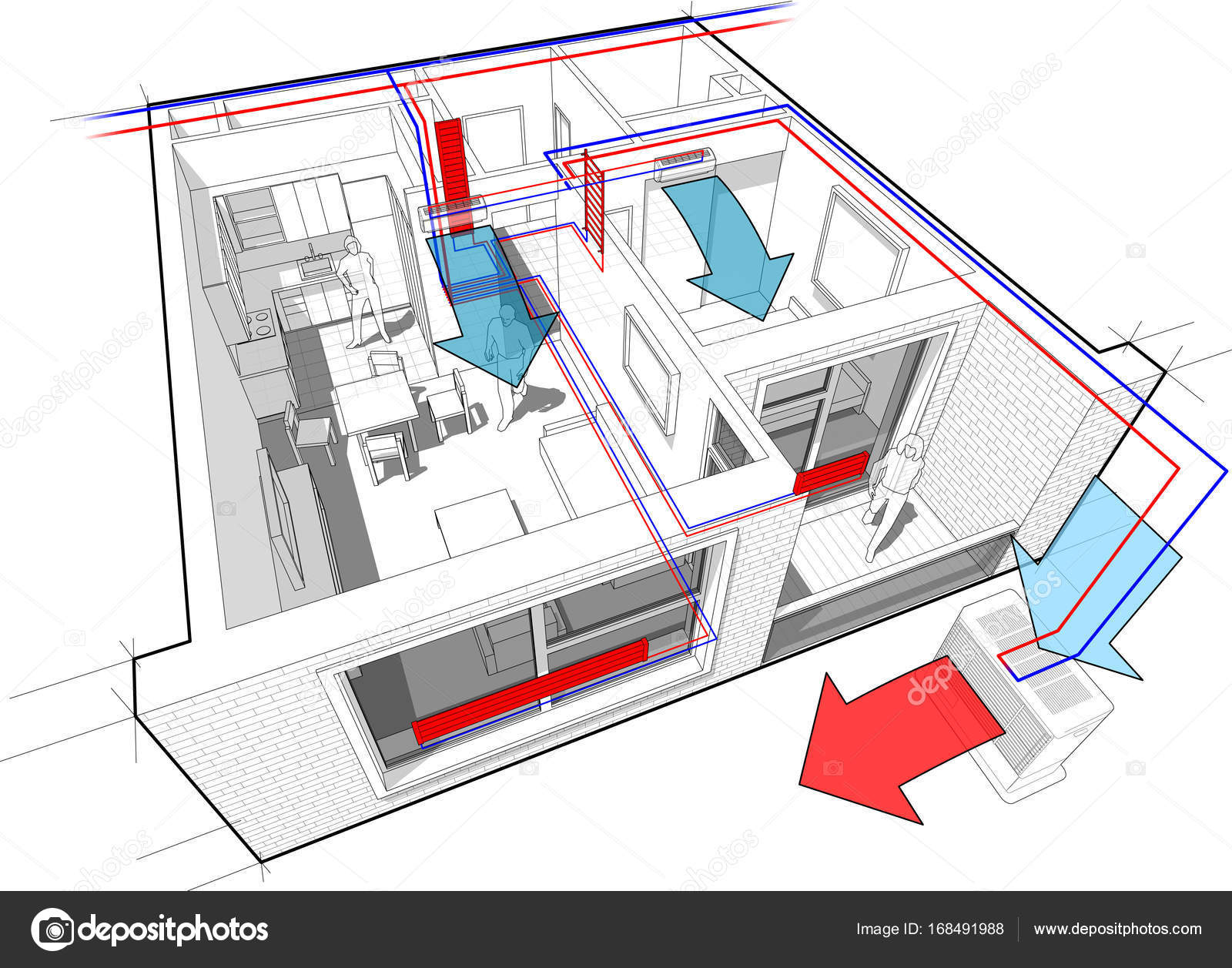 Apartment diagram with radiator heating and air conditioning — Stock ...