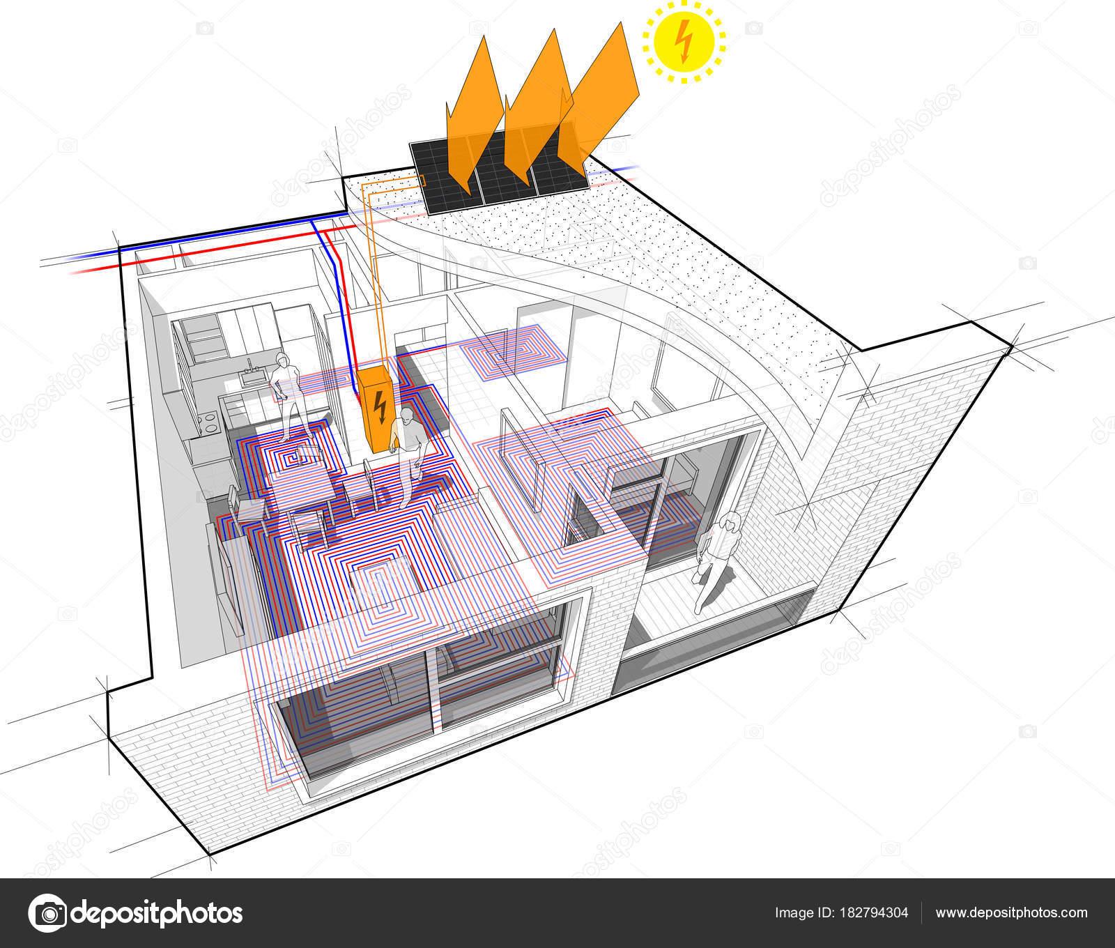 Perspektivischen Cutaway Diagramm Einer Einzimmer Wohnung Komplett ...