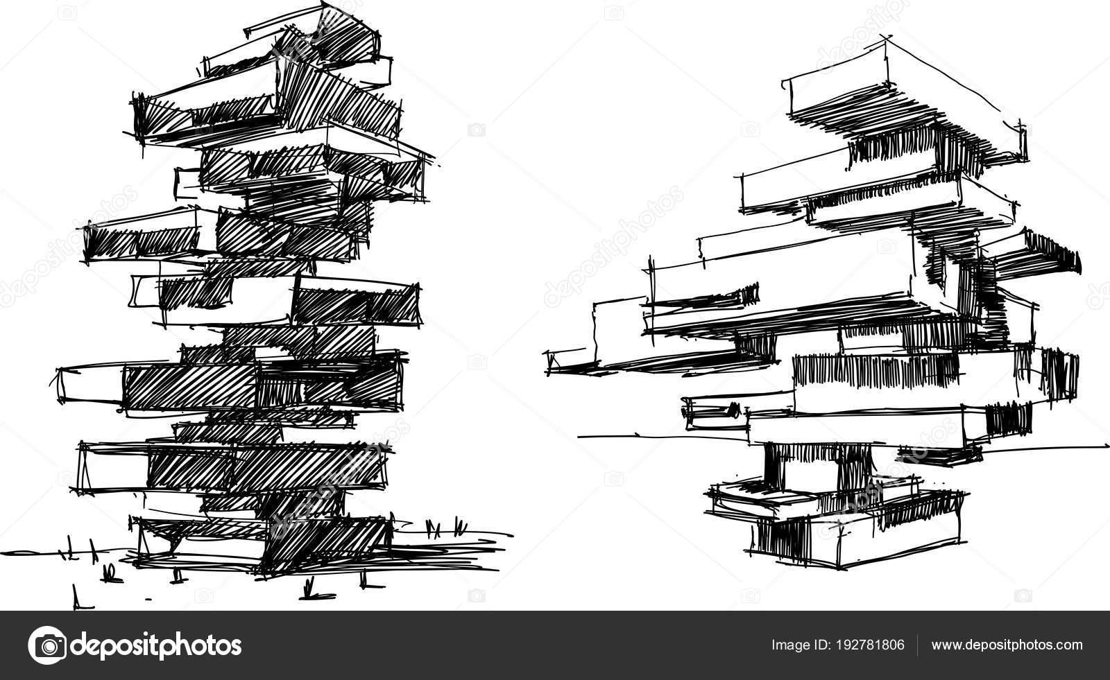 Zwei Hand Gezeichnete Architekturskizzen Von Eine Grosse Moderne Abstrakte Gebaude Stockvektor
