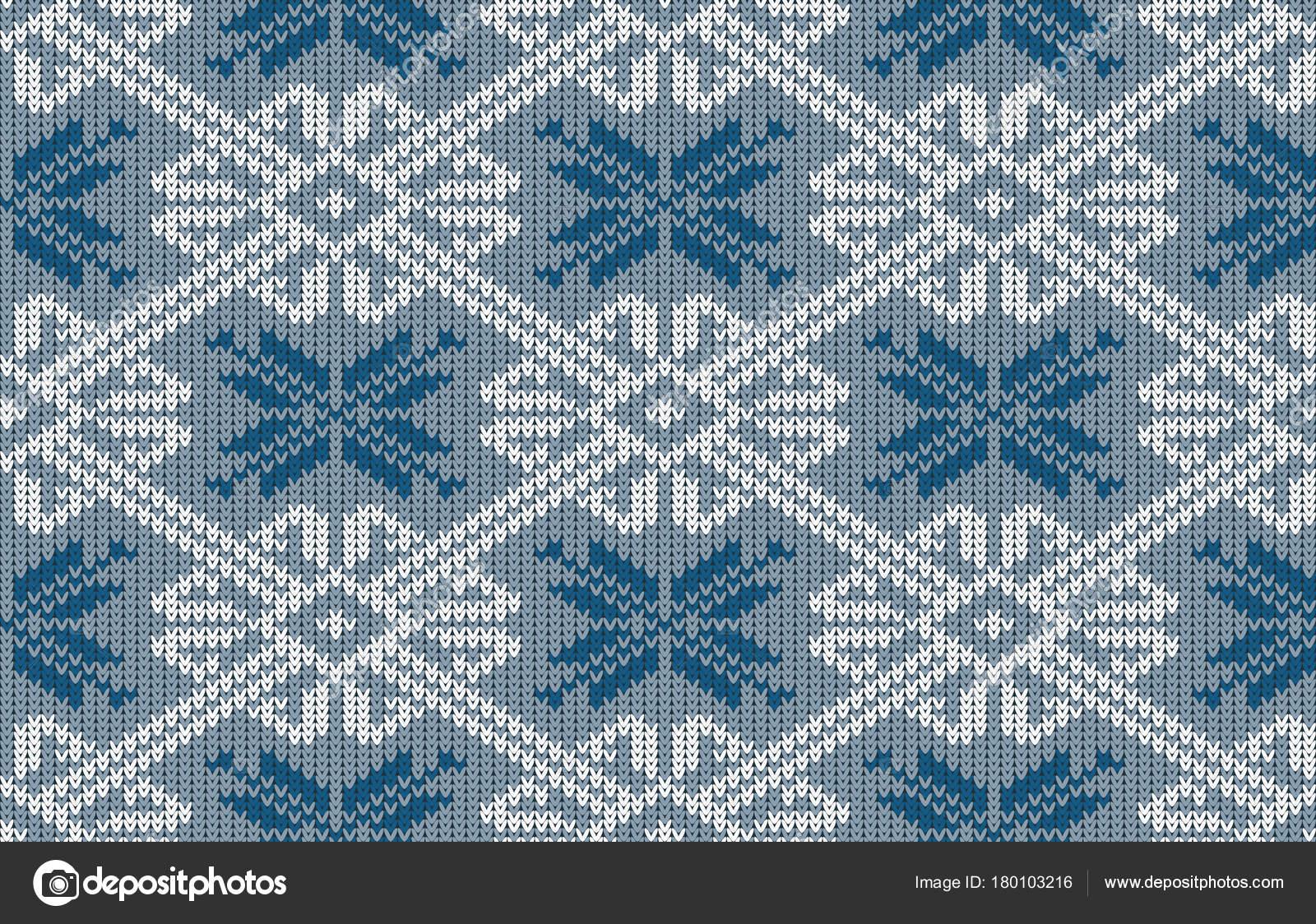 Patrón Punto Noruego Con Copos Nieve Color Azul Vintage Patrón ...