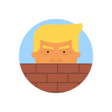 Donald Trump behind a brick Wall