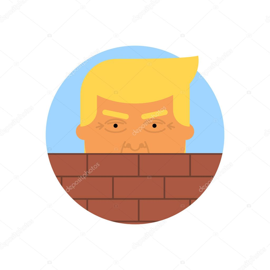 Donald Trump behind a brick Wall