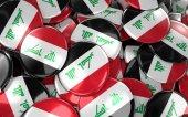 Irák odznaky pozadí - hromadu iráckou vlajku tlačítka