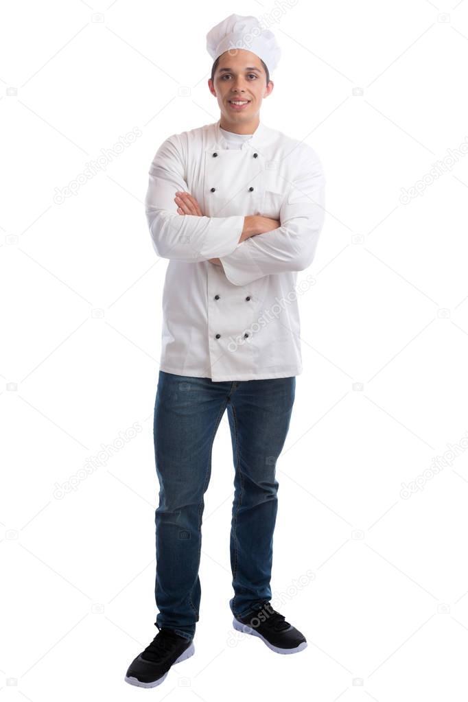 Cocinero a aprendiz de aprendiz cocina con trabajo joven pie isol ...