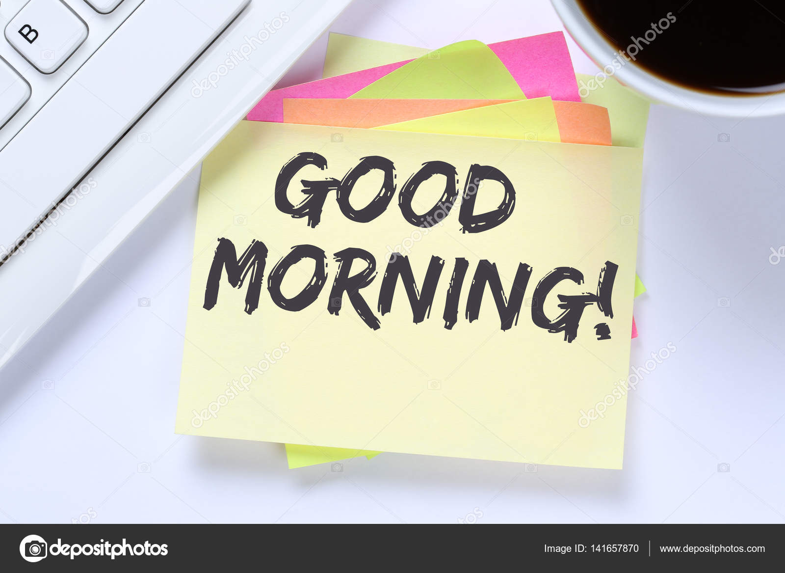 Good morning hello greeting welcome message business desk stock good morning hello greeting welcome message business desk stock photo kristyandbryce Images