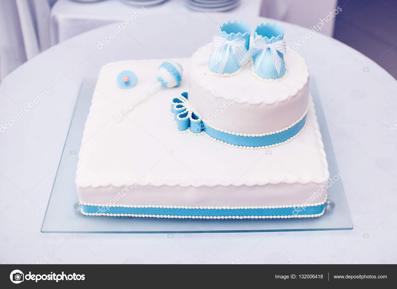 Birthday Cake With Children Shoes On Top Stock Image