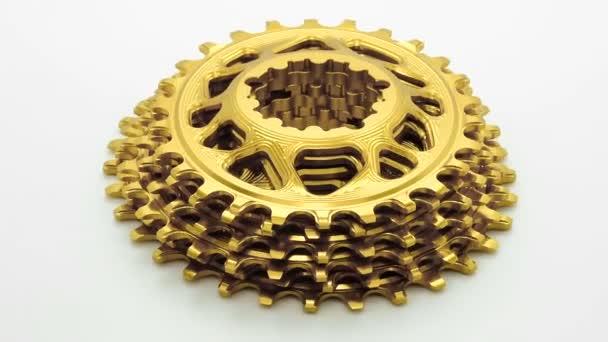 Arany ovális kerékpár lánctányért felszerelés forgó fehér háttér