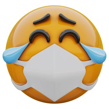 3D render of tears of joy yellow emoji face in medical mask protecting from coronavirus 2019-nCoV, MERS-nCoV, sars, bird flu and other viruses, germs and bacteria and contagious disease.