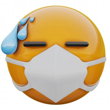 3D render of stressed out yellow emoji face in medical mask protecting from coronavirus 2019-nCoV, MERS-nCoV, sars, bird flu and other viruses, germs and bacteria and contagious disease.
