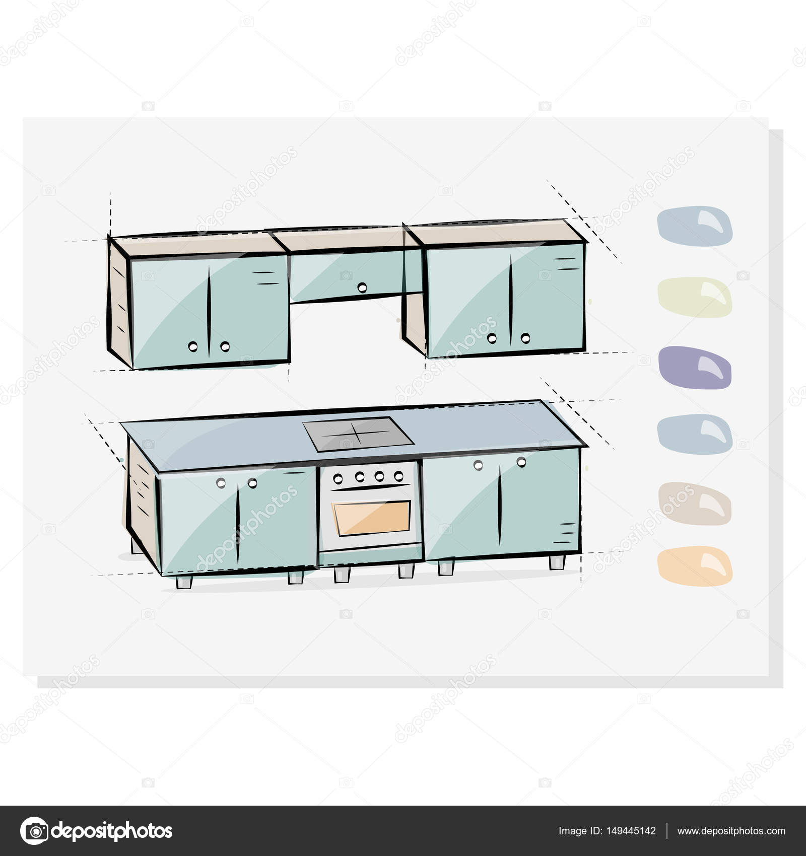 Kitchen interior drawing, vector illustration. Button choosing ...