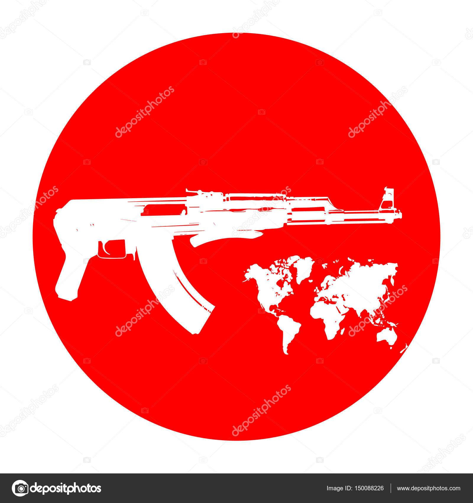 Machine On A Red Background Terrorists And A Ban On Weapons A
