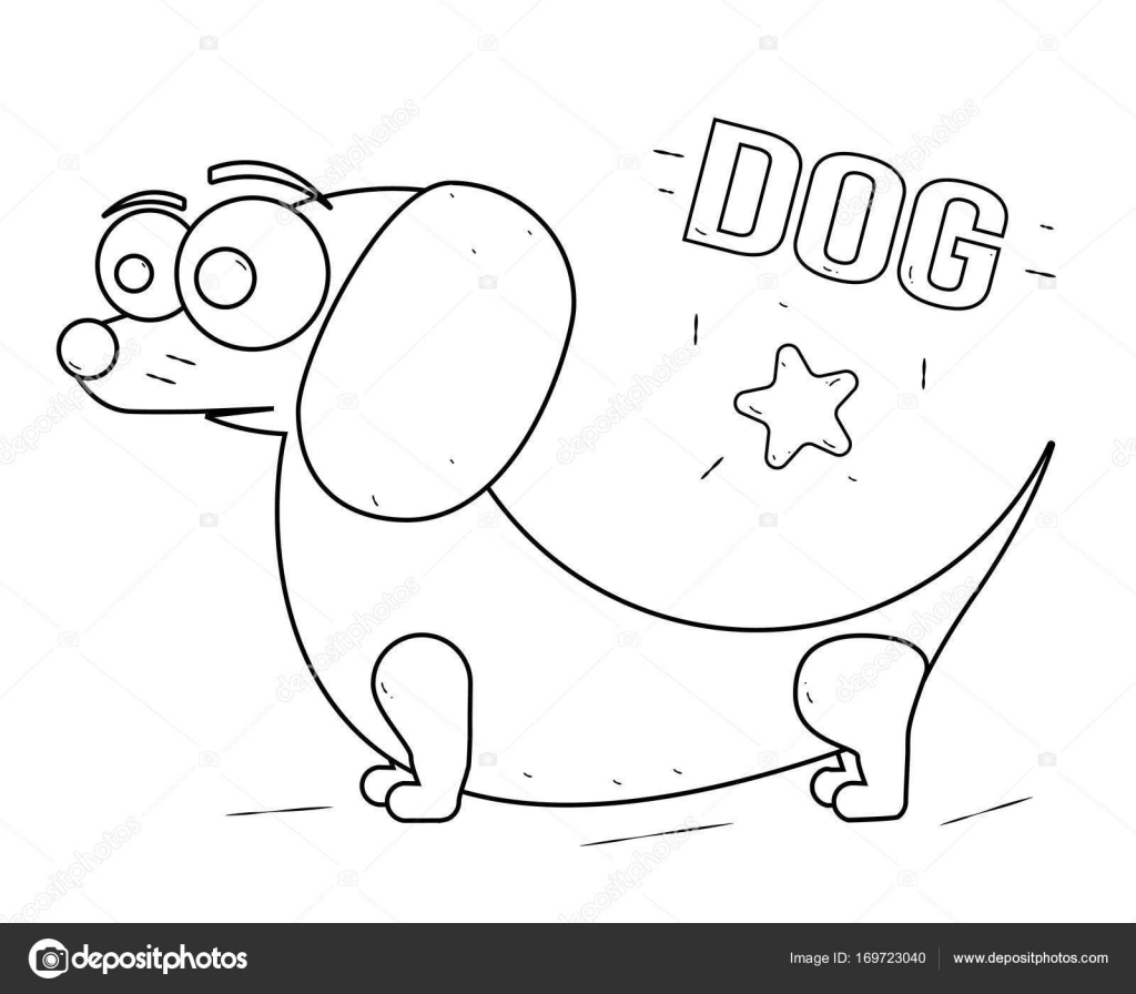 Funny and friendly cartoon dog black and white line drawing coloring book for kids vector by avgustbrut