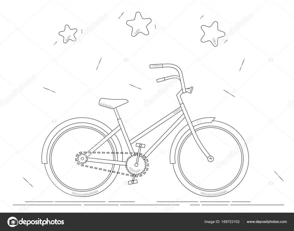 Bisiklet Boyama Kitabı Siyah Ve Beyaz çizgi çizme Stok Vektör