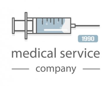 Syringe. Medical service. The modern design of the logos.