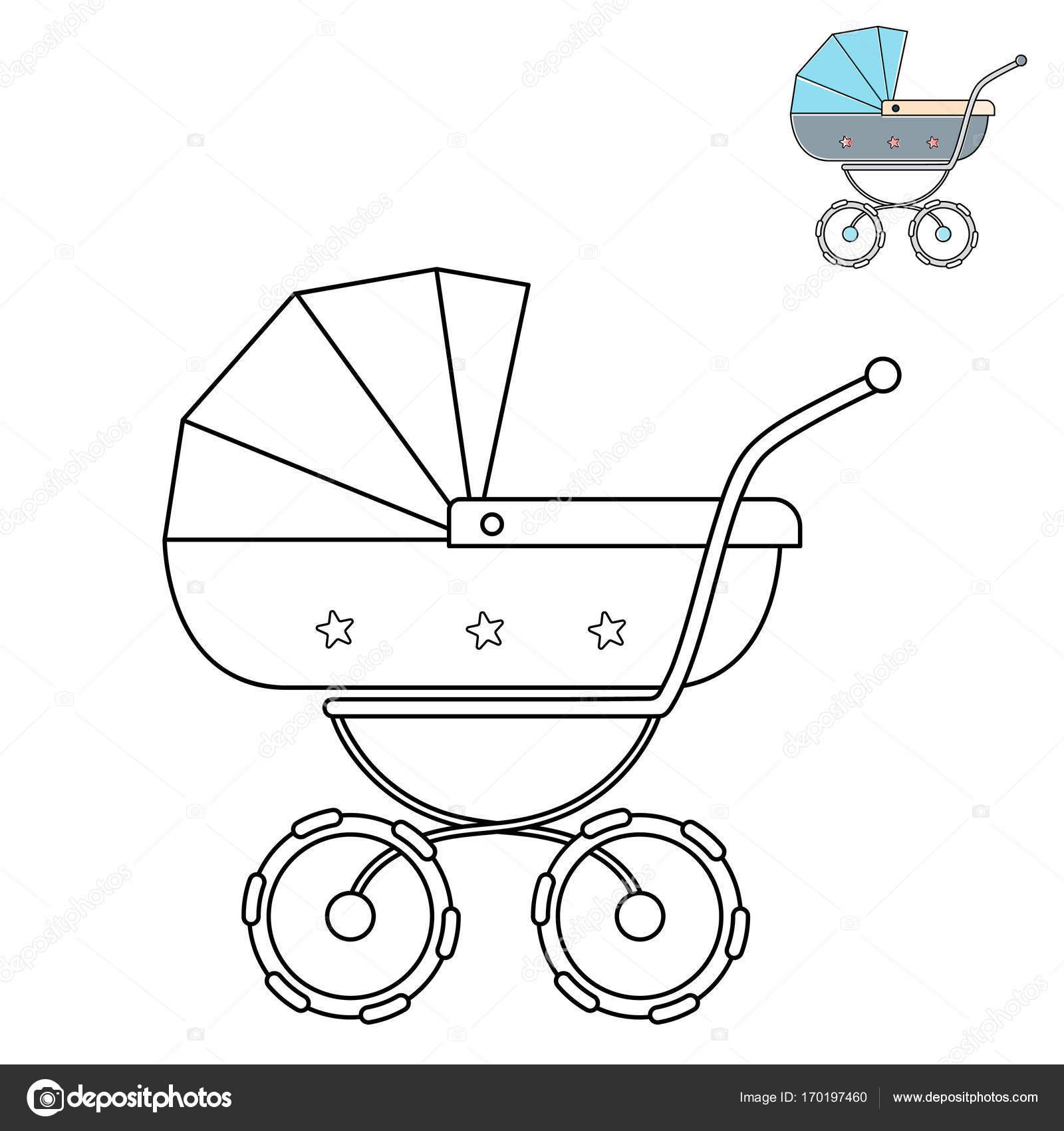 baby wandelwagen zwart wit lijntekening kleurplaat