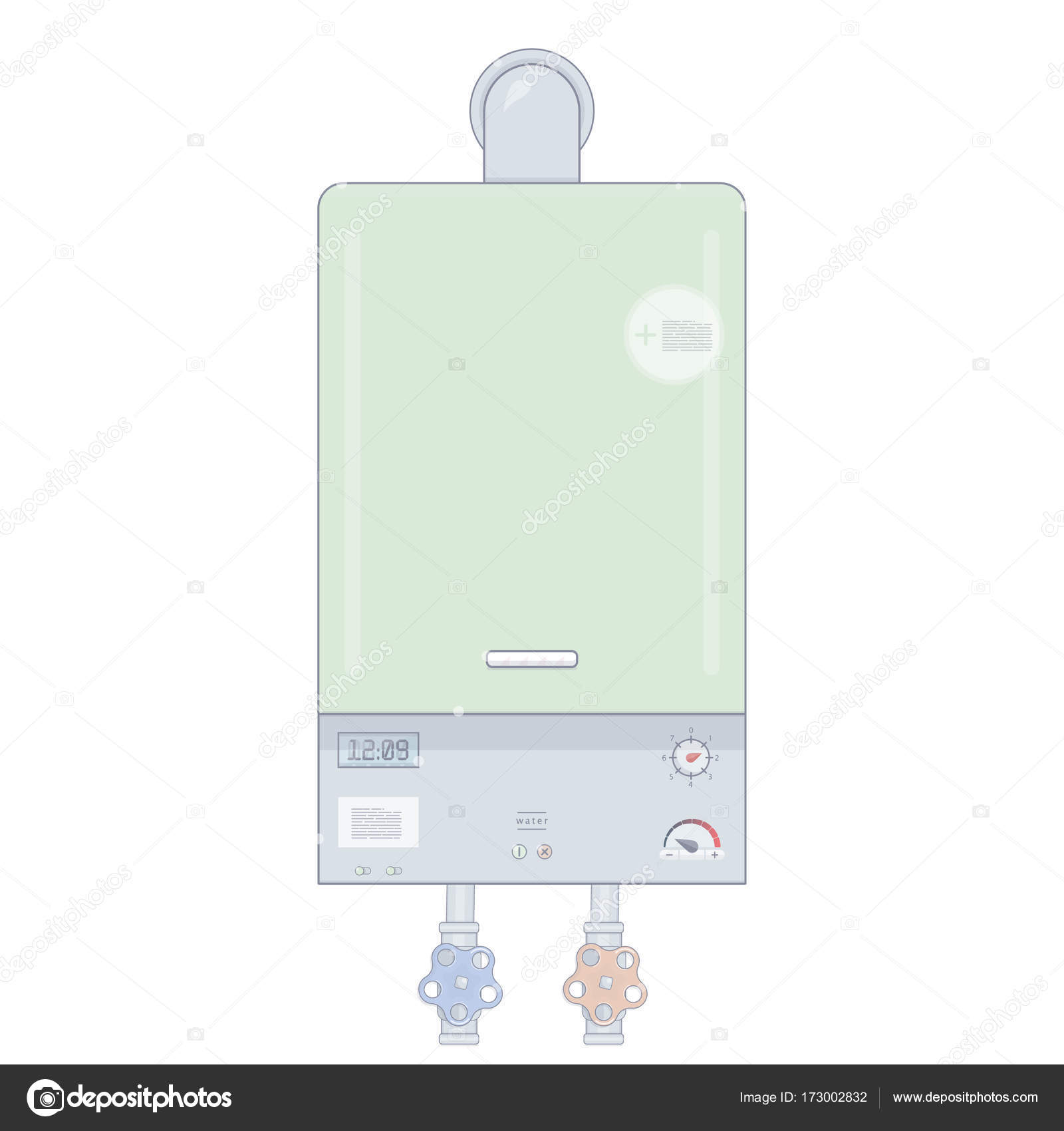 Gas boiler. Heating the house. Cartoon style. Illustrations for the ...