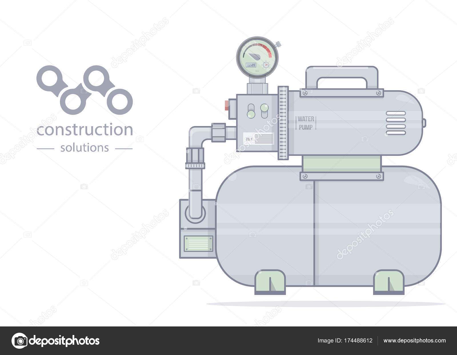 Water pump. Illustration pumping station. For online store of ...
