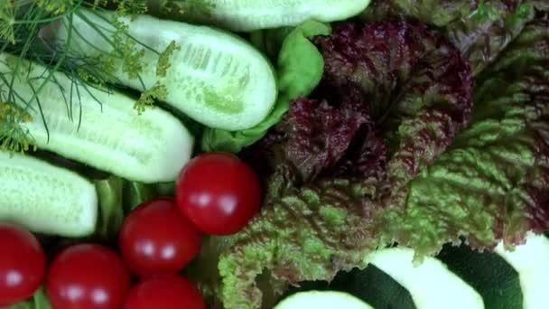 Paradicsom, uborka, cukkini, saláta, kapor. lemezjátszó óramutató járásával ellentétes
