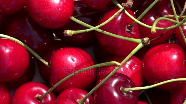 Healthy ripe cherry berries. Rotating turntable anticlockwise