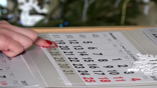 finger pushing calendar marker through last days of year