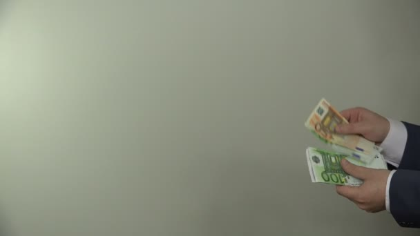 Illegal payment for works. Hand pay euro banknotes. 4K