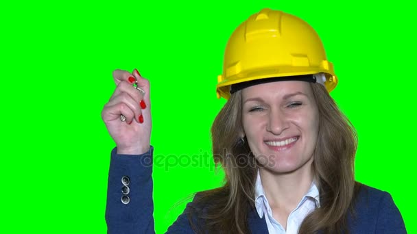 Porträt von glücklich attraktive kaukasischen Geschäftsfrau Immobilienmakler