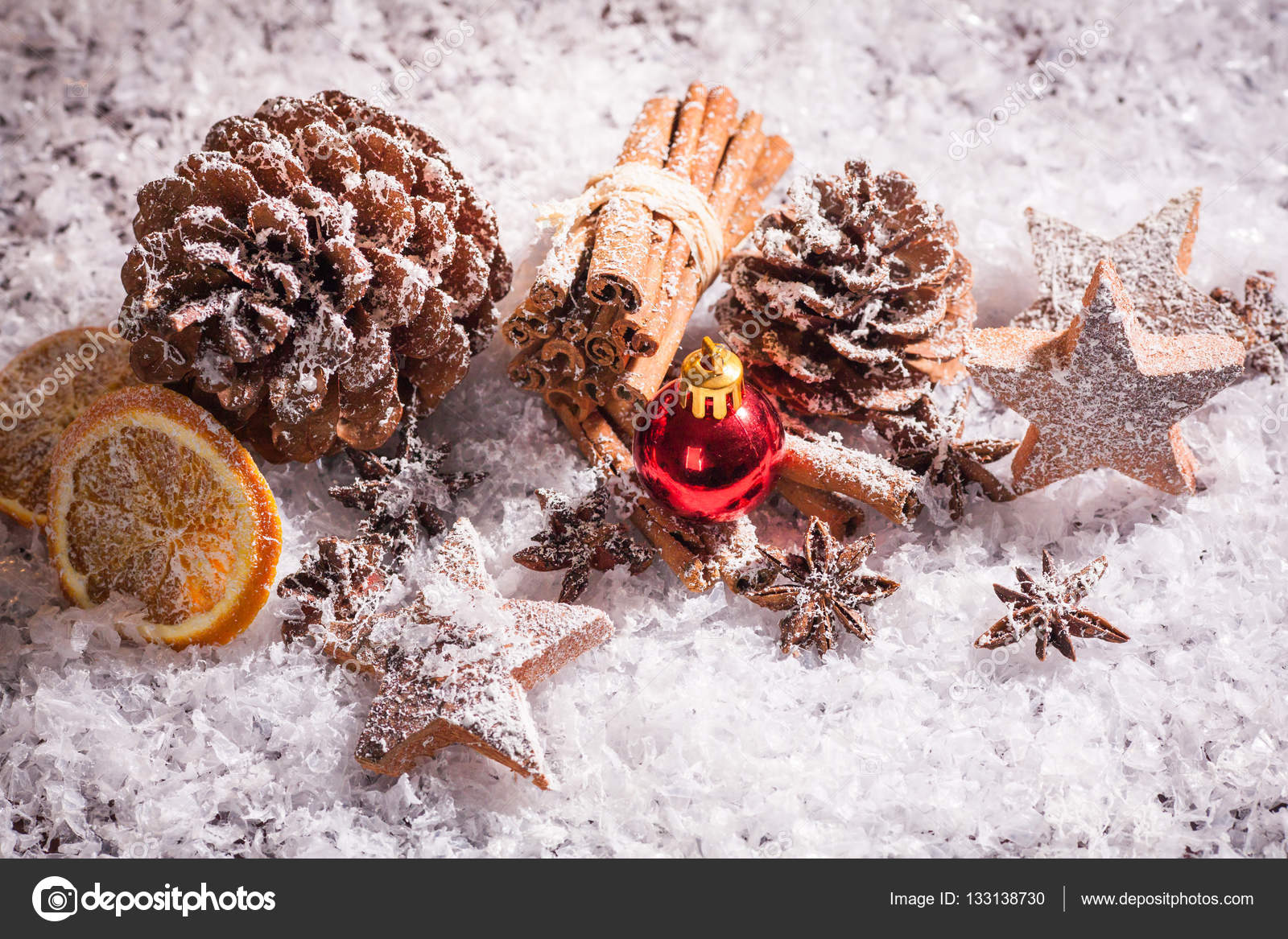 Stylish Rustic Winter Wallpaper With Anise Cinnamon And Pine Cones Stock Photo