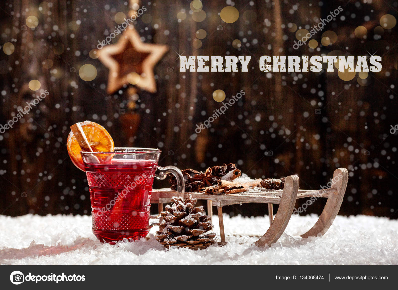 Stylish Rustic Winter Wallpaper With Anise Cinnamon And Pine Cones Merry Christmas Stock Photo