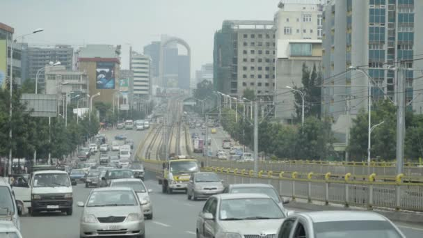 Busy streets and skyline in Addis Ababa, capital of Ethiopia