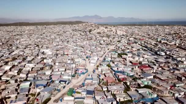 Aerial over huge township in South Africa near Cape Town