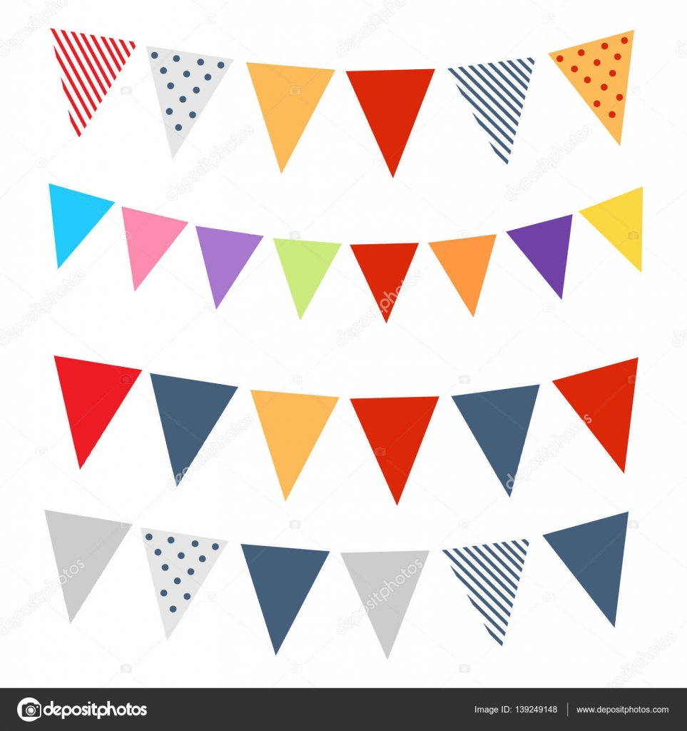 isolated colorful flags and banner for party and holidays stock