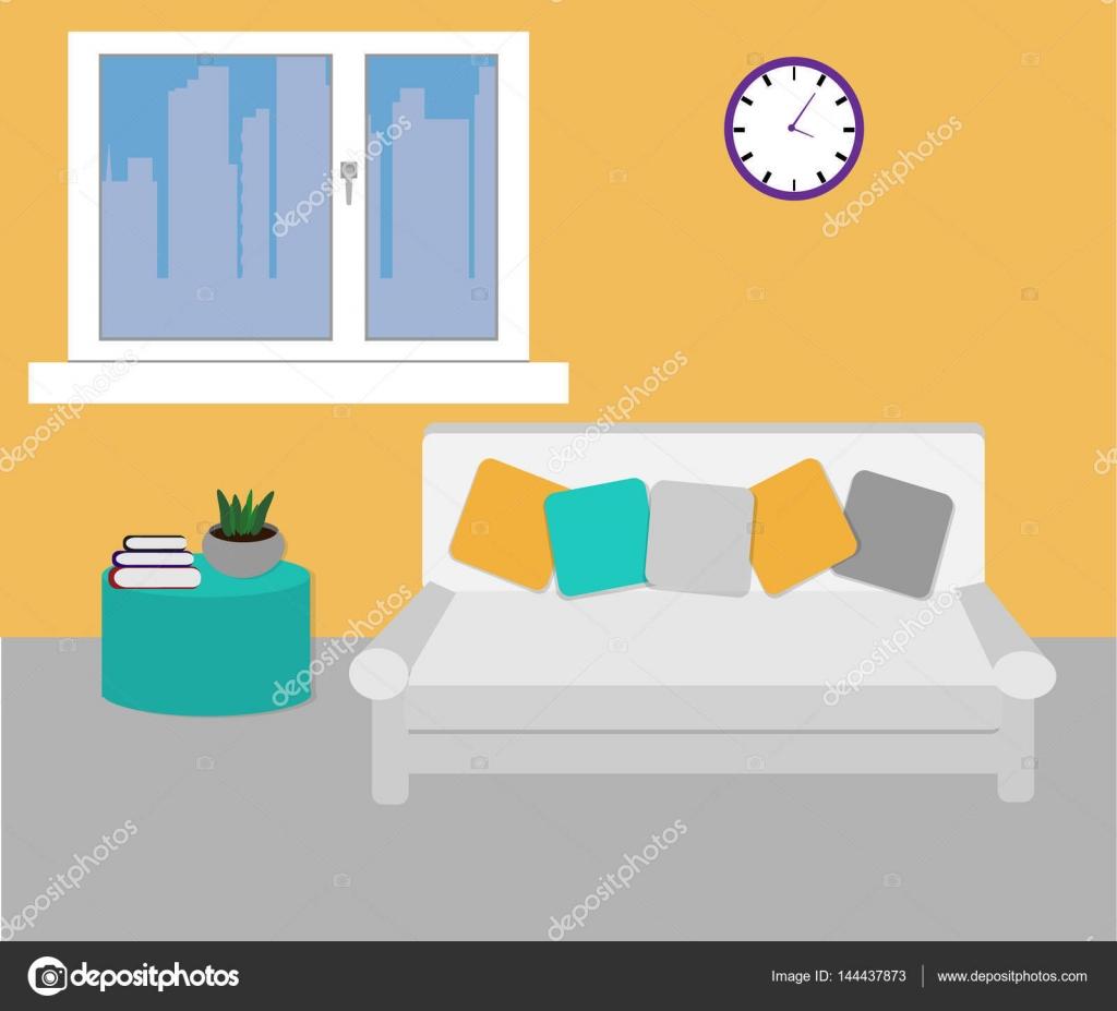 Einfache Einrichtung Wohnzimmer — Stockvektor © alenasamygina@gmail ...