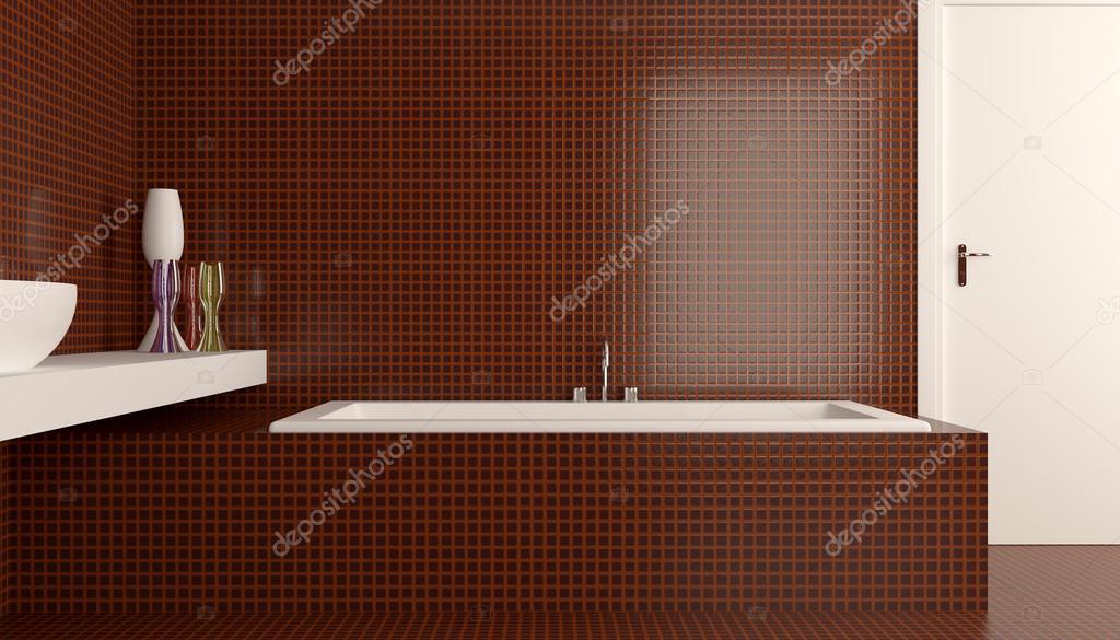 Het minimalistische ontwerp van de badkamer. 3D render — Stockfoto ...