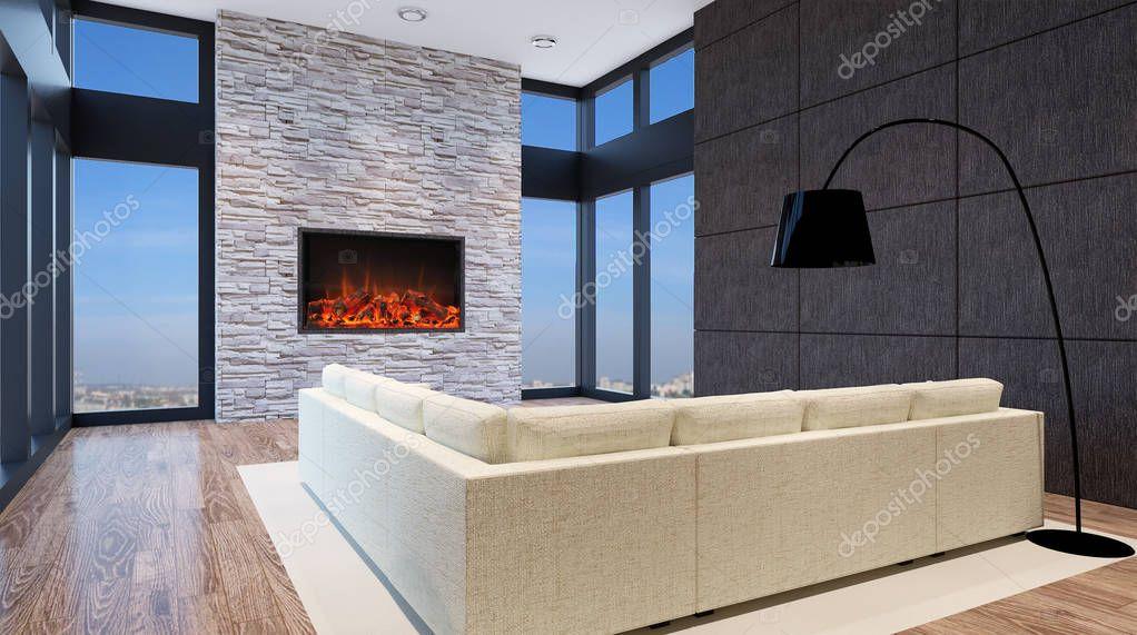 Bureau moderne salon intérieur rendu d u photographie kellkinel
