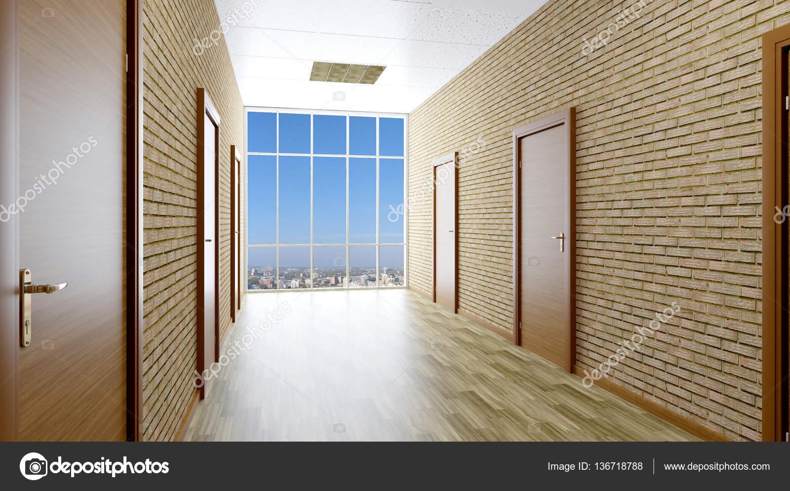 Le couloir en immeuble de bureaux rendu d u photographie