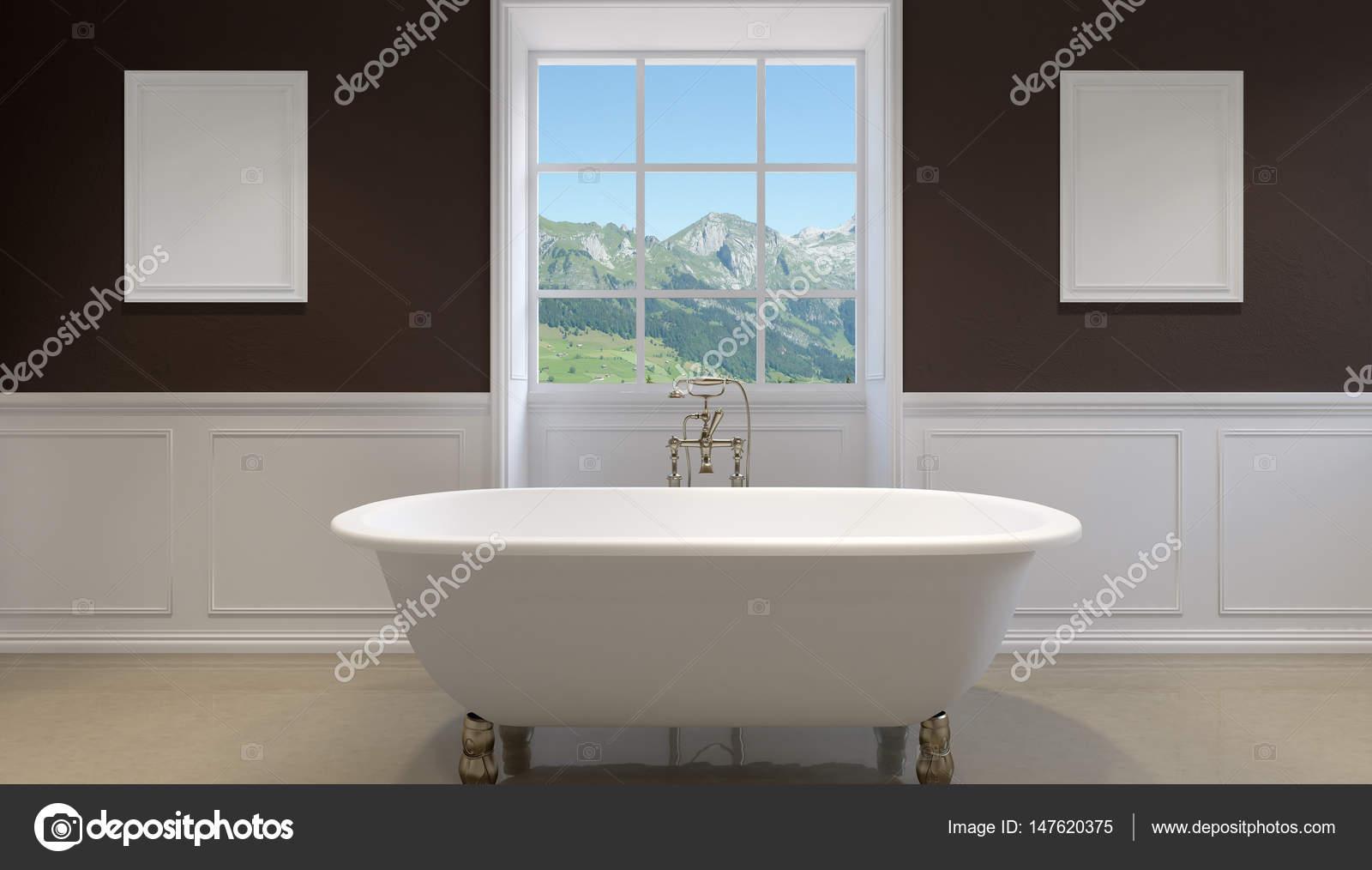 Freestanding bath in modern bathroom. 3D rendering — Stock Photo ...
